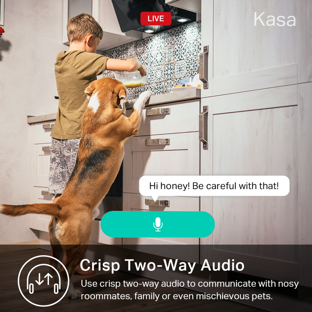 Kasa Spot Pan Tilt gallery image 2-way audio