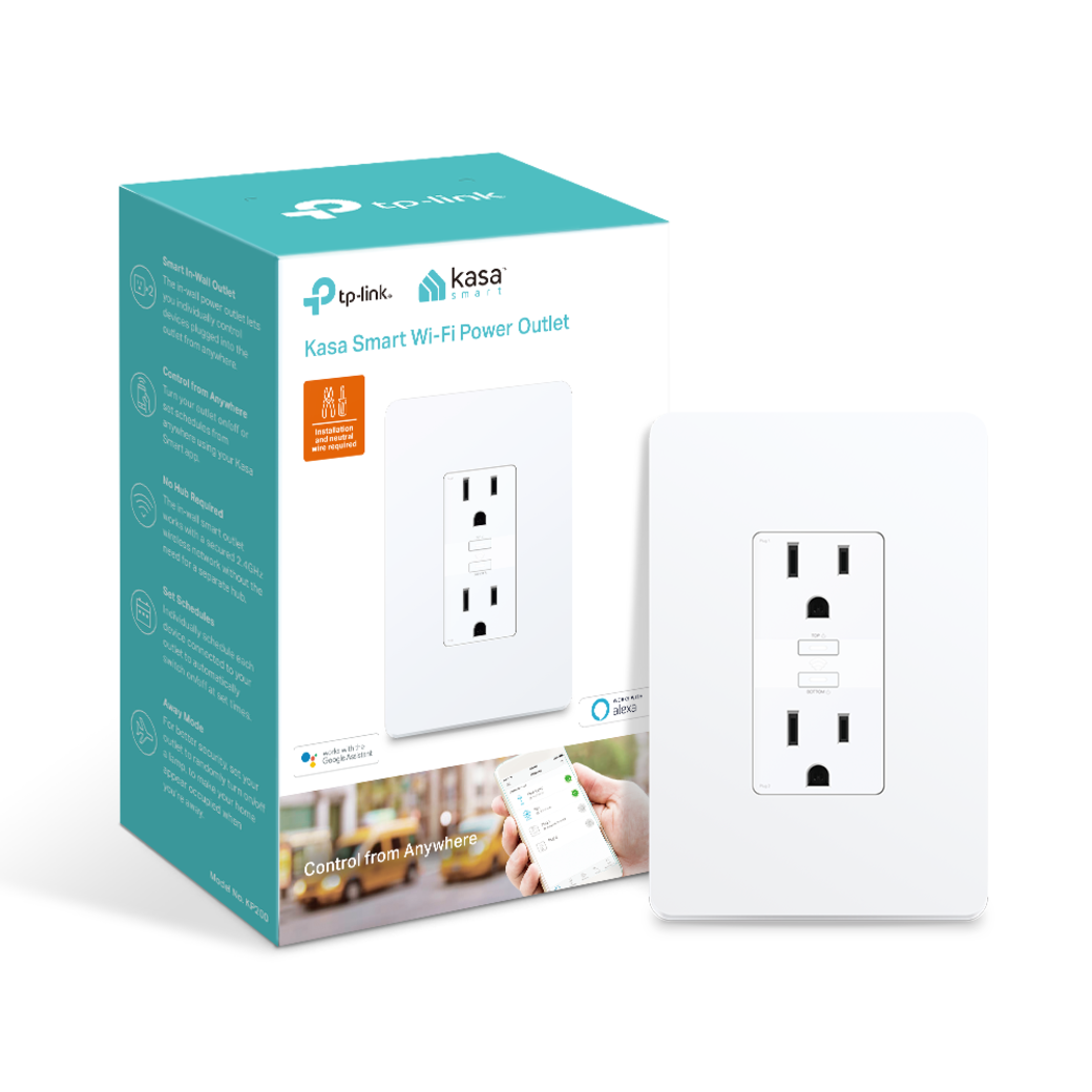 Kasa Smart WiFi Power Outlet, 2-Sockets gallery image packaging with product