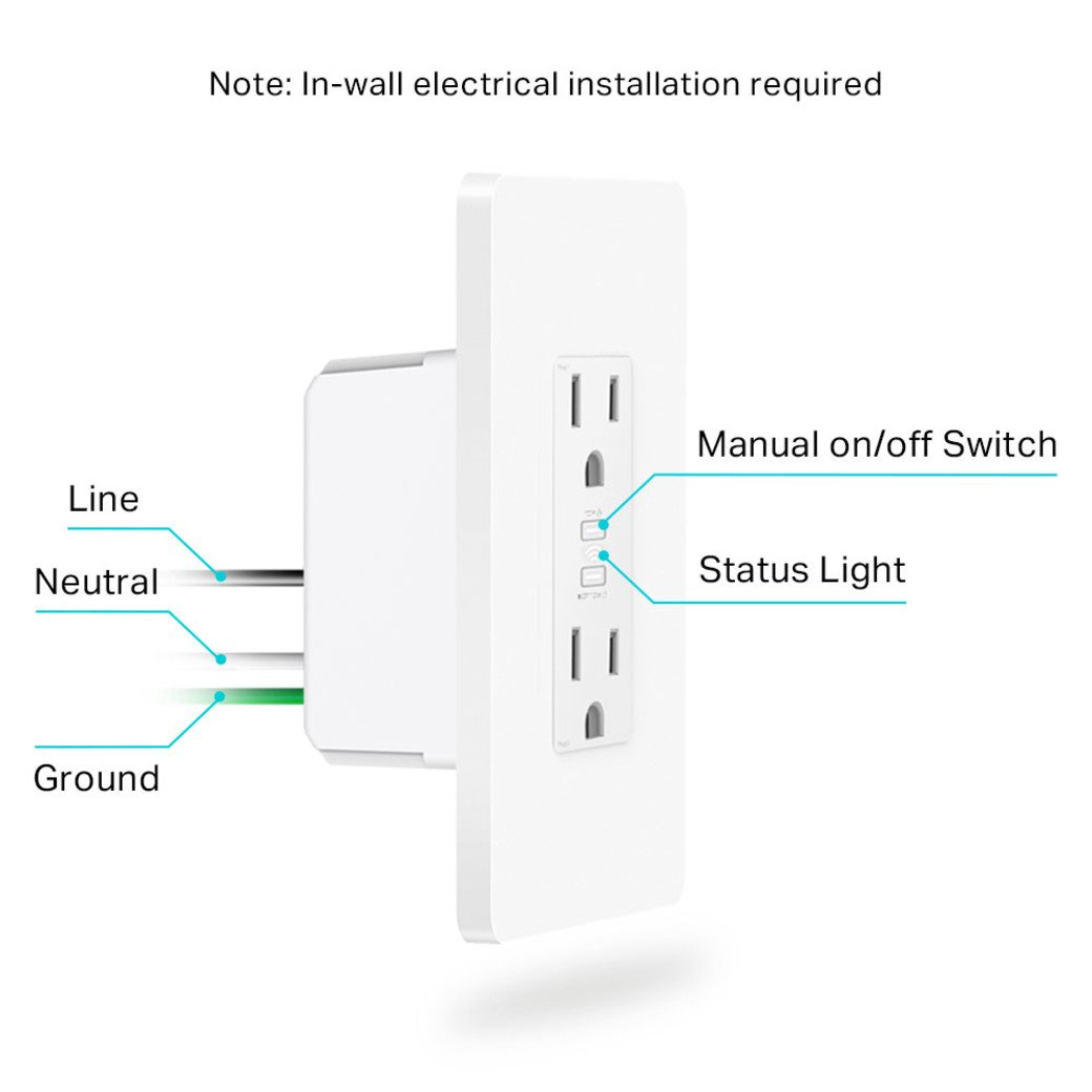 Kasa Smart Wi-Fi Power Outlet anatomy image