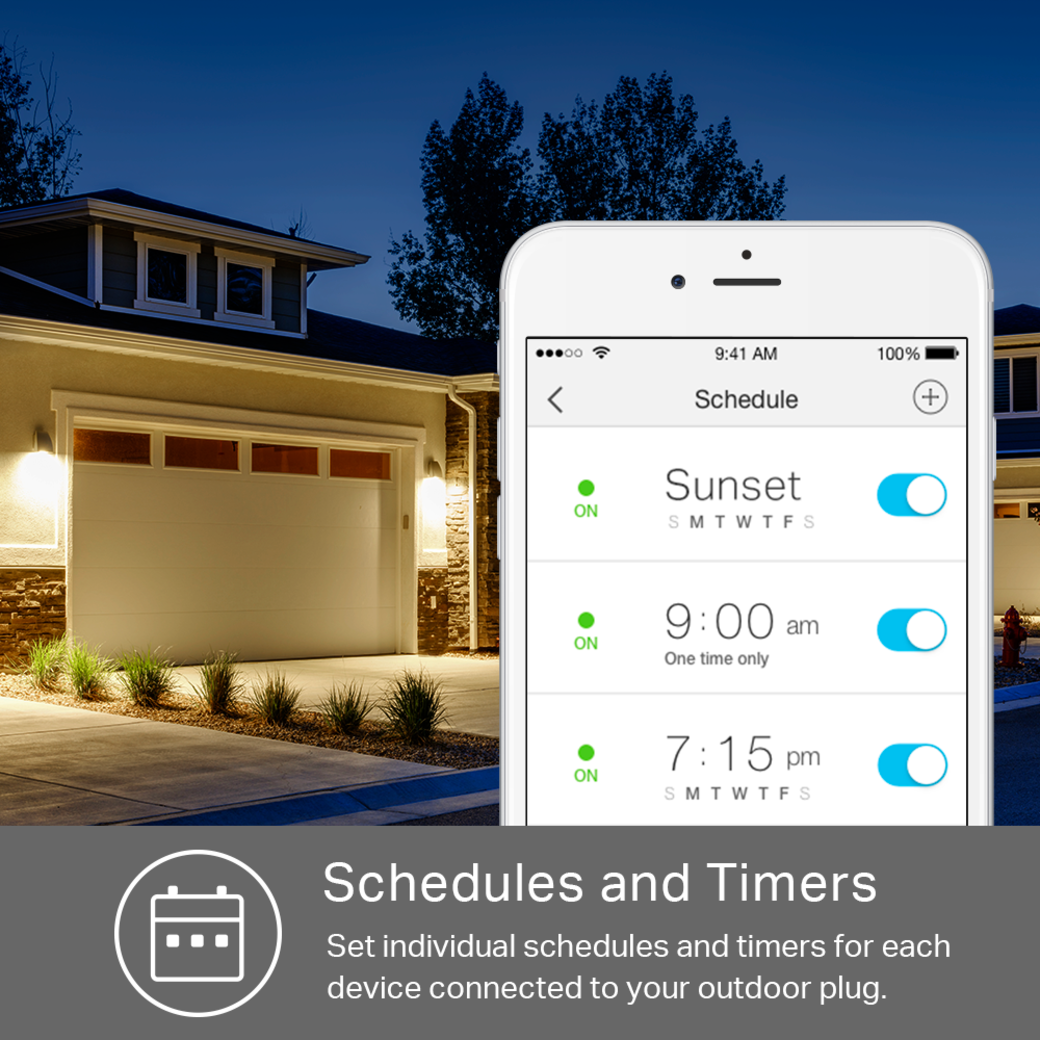 Kasa Smart Wi-Fi Outdoor Plug Schedules and Timers