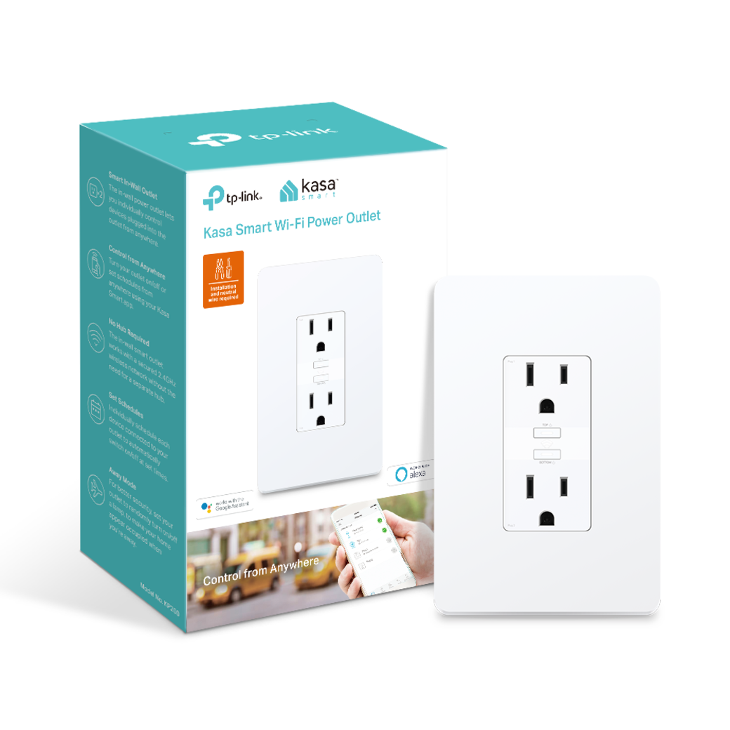 Kasa Smart Wi-Fi Power Outlet, 2-Sockets | Kasa Smart