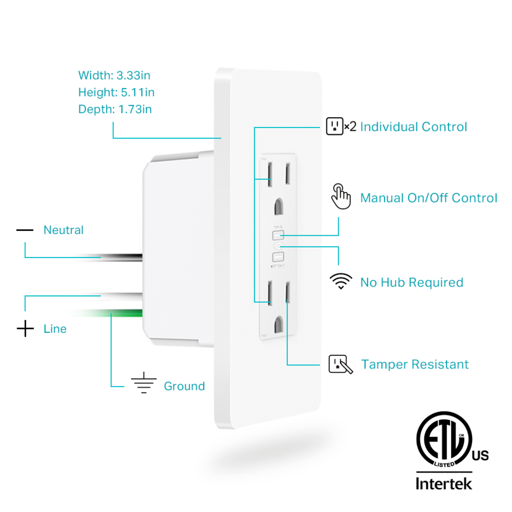 Kasa Smart WiFi Power Outlet, 2-Sockets gallery image anatomy image